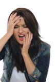 Expressions.upset y mujer bonita gritadora Foto de archivo libre de regalías