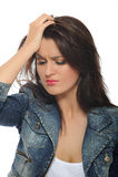 Expressions.upset y mujer bonita gritadora Foto de archivo