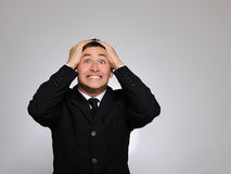 Expressions.Young business man screaming Royalty Free Stock Photos