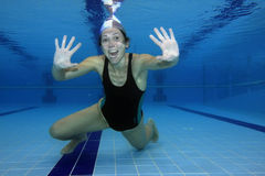 Expressive. Underwater picture of a swimmer signaling the Ok sign Stock Images