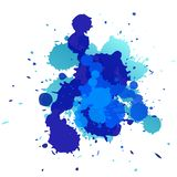 Expressive abstract watercolor stain. splash of dark blue.  isolated colorful   . Expressive abstract watercolor stain. splash of dark blue. Abstract isolated Royalty Free Stock Photography