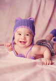 Expressive adorable happy baby smiling Stock Photos