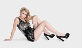 Expressive beautiful blonde girl posing Stock Images