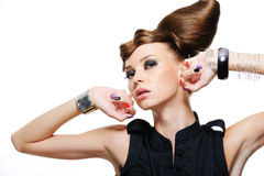 Expressive beautiful girl. Portrait of expressive beautiful girl with creative hairstyle - isolated Stock Photo