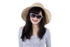 Expressive beautiful woman wearing sun hat Stock Photos