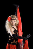 Expressive girl dancing spanish dance. Royalty Free Stock Photography