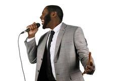 Expressive black singer. Stock Photo