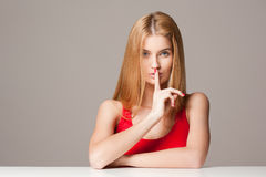 Expressive blond beauty. Royalty Free Stock Photography