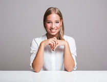 Expressive blond woman. Royalty Free Stock Photography