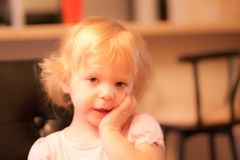 Expressive Blonde Toddler Girl Royalty Free Stock Photos