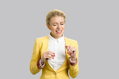 Expressive business lady singing song isolated. Stock Photography
