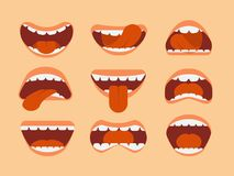Expressive cartoon human mouth with tongue and teeth. Vector set for making character faces. Illustration of mouth and tongue, expression cartoon and emotion Royalty Free Stock Photography