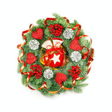 Expressive Christmas Wreath on White Stock Photo