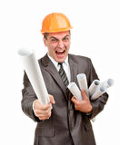 Expressive contractor with plans Royalty Free Stock Image