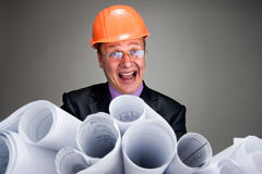Expressive contractor with plans Royalty Free Stock Images