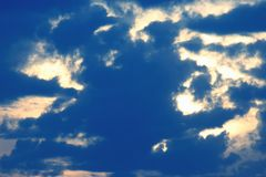 Expressive contrast of the clouds in the sky. The expressive contrast of the clouds in the sky stock photography