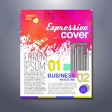 Expressive cover with watercolor splash at corporate background Stock Photos