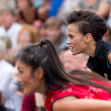 Expressive and cute actress in the crowd. Royalty Free Stock Images