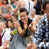 Expressive and cute street performer. Royalty Free Stock Images