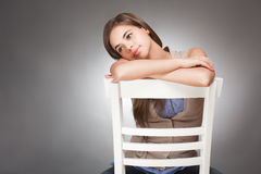 Expressive cute young brunette. Stock Images