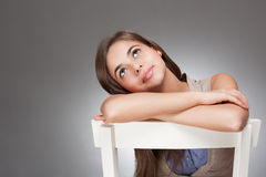Expressive cute young brunette. Royalty Free Stock Photo