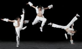 Expressive dancing man. On black Royalty Free Stock Image