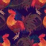 Expressive decorative seamless pattern with cocks. A symbol of New Year 2017. fiery red rooster of the Chinese calendar. background for textile printing Royalty Free Stock Photography