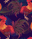Expressive decorative seamless pattern with cocks. A symbol of New Year 2017. fiery red rooster of the Chinese calendar. background for textile printing Royalty Free Stock Image