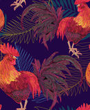 Expressive decorative seamless pattern with cocks. A symbol of New Year 2017. fiery red rooster of the Chinese calendar. background for textile printing Stock Photos