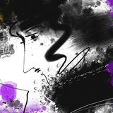 Expressive drawing, graphics, portrait, poetic image Royalty Free Stock Photo