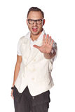 Expressive dude man pointing at camera. Over white background Stock Photos