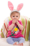 Expressive Easter baby girl Royalty Free Stock Photos