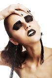 Expressive Emotions. Funky Woman Hipster with Crazy Black Makeup. Creativity Royalty Free Stock Images