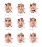 Expressive faces of the emotional person Stock Images