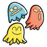 3 expressive ghost. Three colorful funny & scary Halloween ghost flying around with different expression Royalty Free Stock Photo