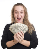 Expressive girl with dollar bills Stock Image