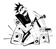 Cartoon guitar player black on white isolated illustration Stock Photography