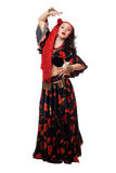 Expressive gypsy woman in a black skirt. Isolated Stock Photography