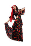 Expressive gypsy woman. Isolated Stock Image