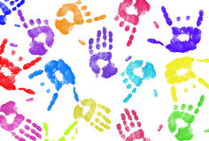 Expressive hand print background. Multi colored expressive hand print background on white Stock Photography