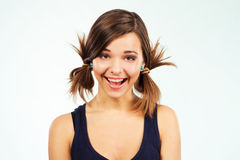 Expressive happy girl. Portrait of expressive happy girl Royalty Free Stock Photos