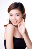 Expressive happy girl. A very happy asian girl with an expressive face and hand gesture Royalty Free Stock Images