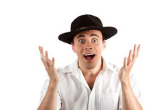 Expressive happy surprised man in hat. Isolated on white royalty free stock photos