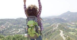 Expressive happy traveler stock video
