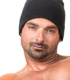 Tough Guy. Expressive Image of a Tough Guy on White stock photography