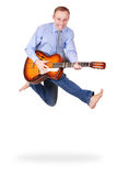 Expressive jumping man with guitar Royalty Free Stock Photo