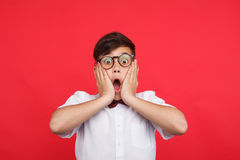 Expressive kid on red. Portrait of boy in glasses and bow tie holding hands on face looking surprised Stock Images