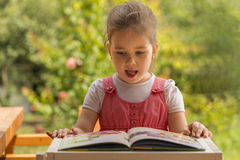 Expressive little girl reading loud Stock Image