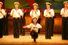 Expressive lively dance of red of revolutionary sailors Royalty Free Stock Images