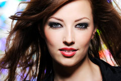 Expressive look of beautiful brunette  woman Stock Photos